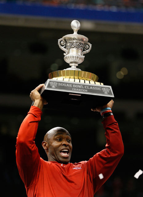 Coach Charlie Strong celebrates after the 2013 Sugar Bowl victory(Credits: Getty Images)